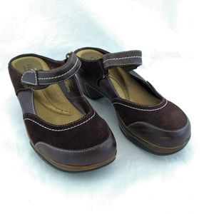 Rialto 8M Clog Slip On Wedge Heels Brown Leather